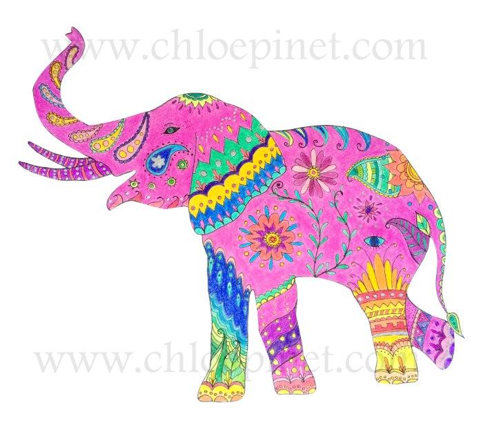 Elefante original y colorido